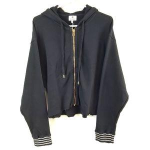 Sundry Crop Fleece Oversized Knit Zip Hoodie